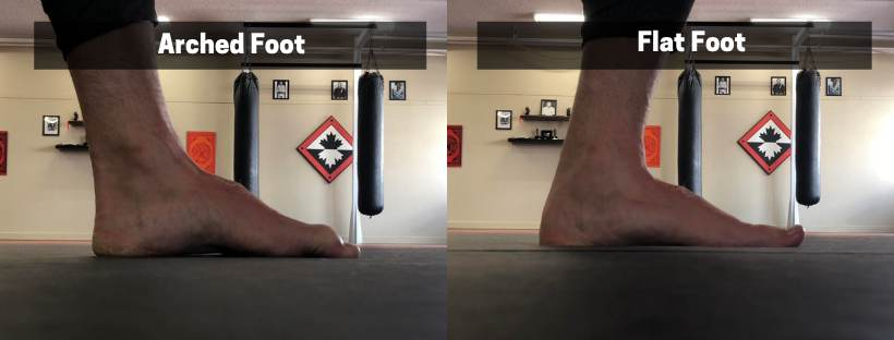 Flat foot versus arched foot while squatting.