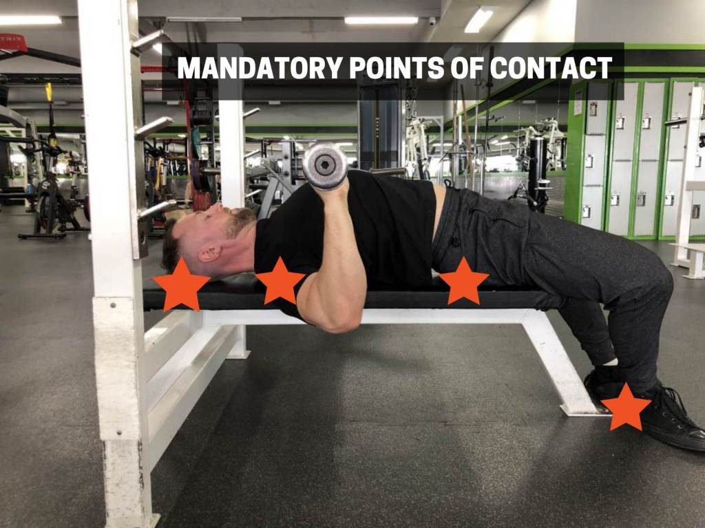 manditory points of contact for bench press rules