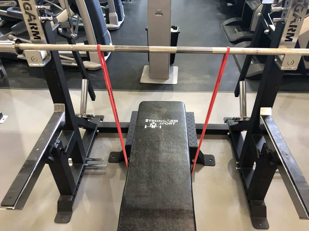 How to set up banded bench press step 4