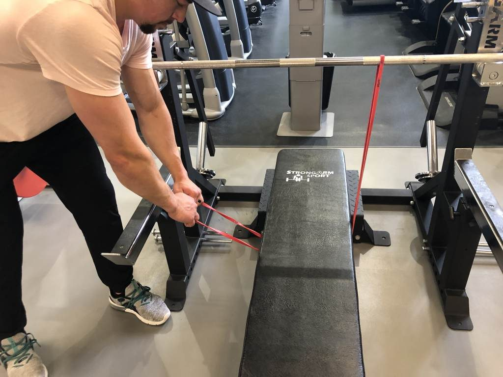 How to set up banded bench press step 2