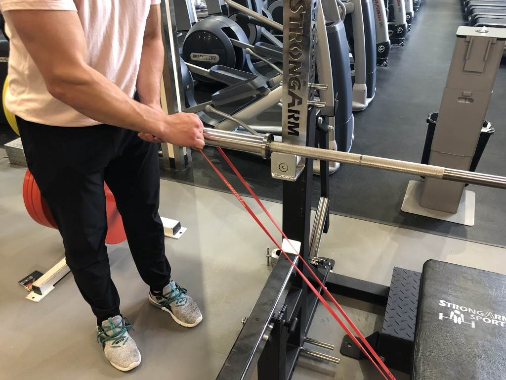 How to set up banded bench press step 3