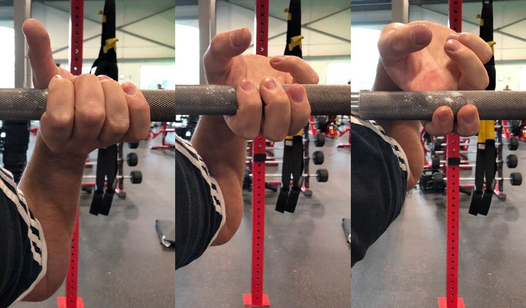 fingers on bar while front squatting