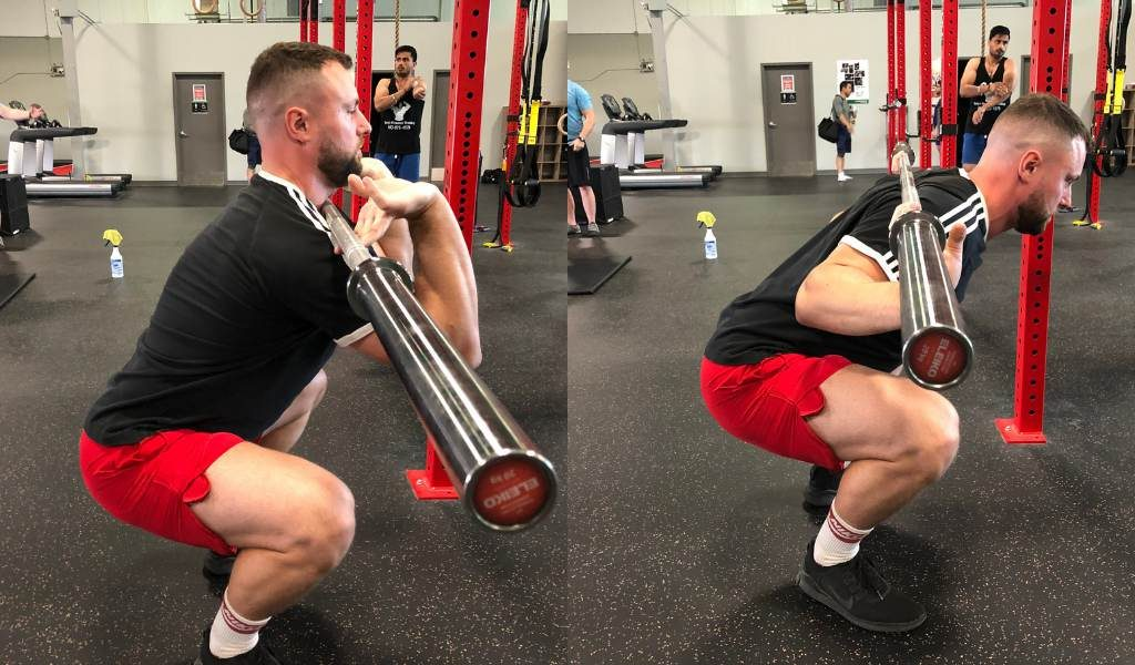 Torso lean front squat vs back squat