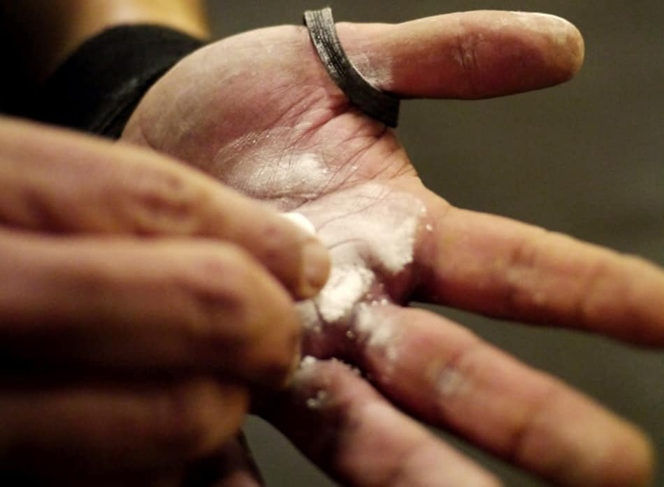 Chalk on hands when lifting weights