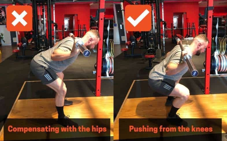 squat cue push the floor away