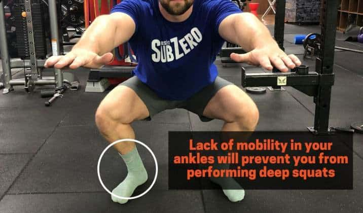 Lack of mobility in ankles will prevent you from performing deep Asian squats