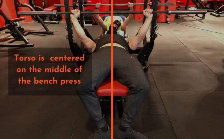 Fixing an uneven bench:  Position torso evenly on the bench press