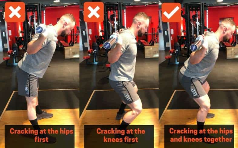squat cue crack at the hips and knees at the same time