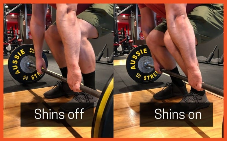 Deadlift cue: Shins to barbell