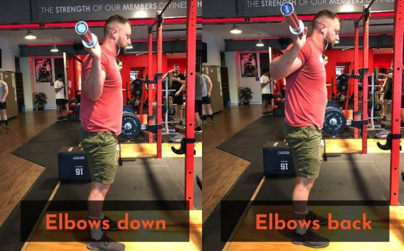 Try an elbows back position while squatting to see if it reduces shoulder pain