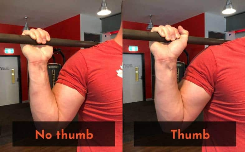 Using a thumbles grip where the thumb wraps under the bar
