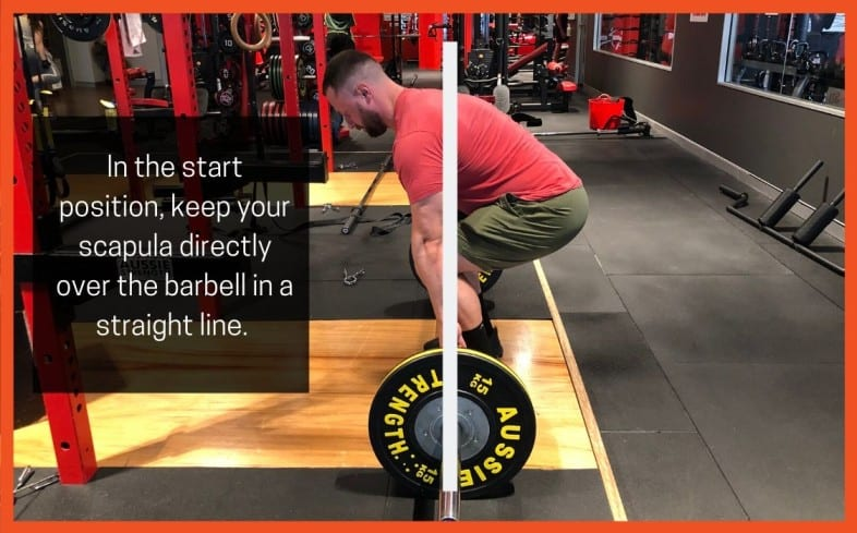 Deadlift cue: shoulder blades over barbell