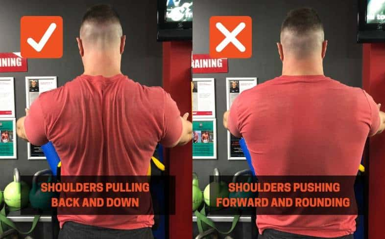 Bench press cue showing the shoulder position being down and back not pushing forward