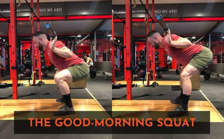what is the good morning squat? It's when the hips shoot up rapidly out of the bottom of the squat.