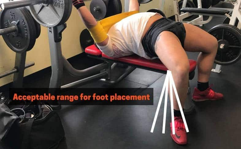 The feet can be pulled further back to get a better leg drive during the bench press
