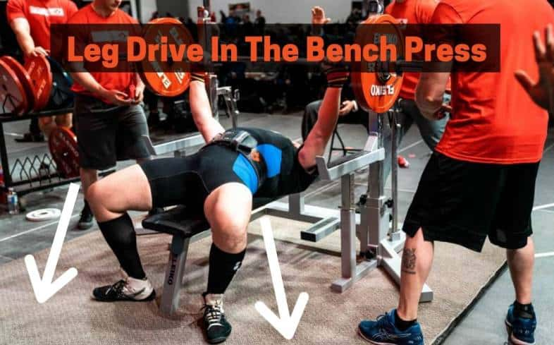 Showing a powerlifter driving into their legs while bench pressing