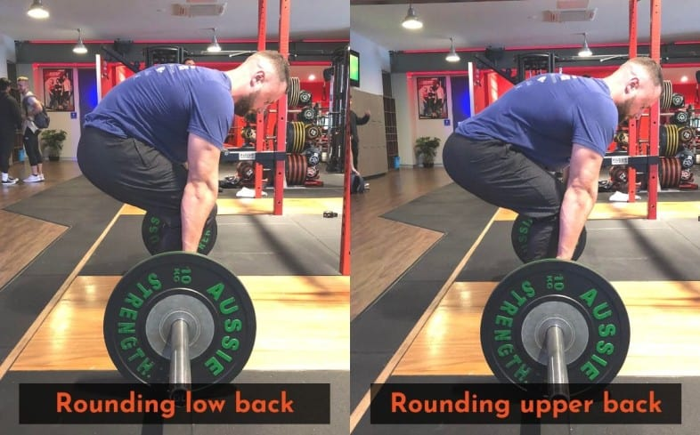 Showing the differences between what it looks like to round the upper back vs the lower back during the deadlift.
