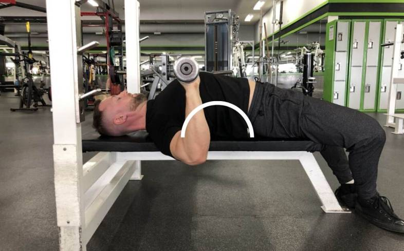 Showing a powerlifter's bench press arch by pressing into their feet