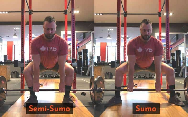 The semi sumo deadlift has a narrower stance than the standard sumo deadlift
