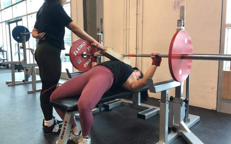 Showing the 2-board bench press