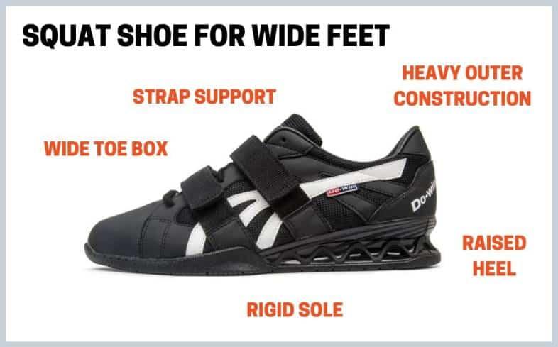 squat shoe for wide feet design