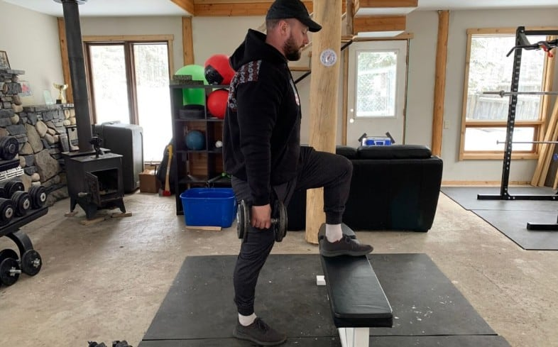 Front squat alternative:  Dumbbell step up