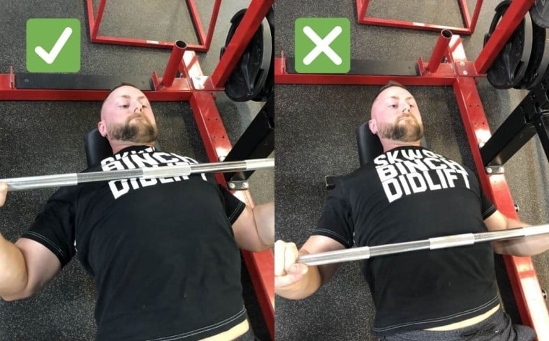 Bench press with legs up and touch point