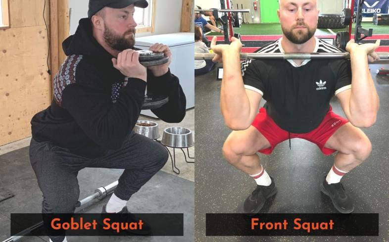 7 main differences between the goblet squat and front squat