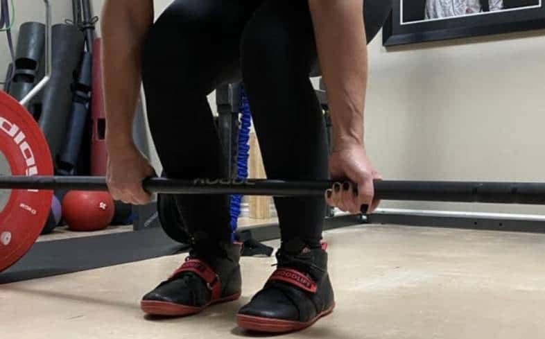 if you deadlift using a squat shoe, it will increase the range of motion of the deadlift