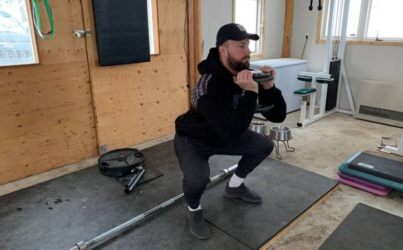 goblet squat is an effective exercise to teach proper hip-hinge movement patterns, which is important for people with pre-existing knee and back conditions