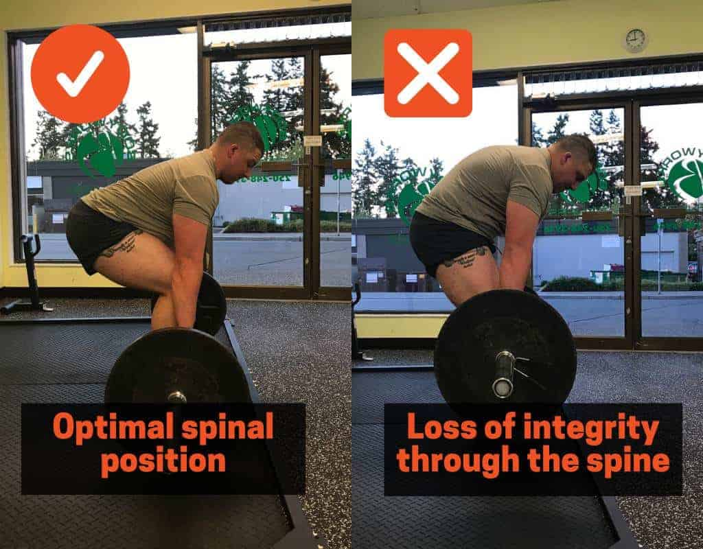 aim to keep your back straight while deadlifting, either by cueing your spine and hips to be in a neutral position or by strengthening your posterior chain muscles