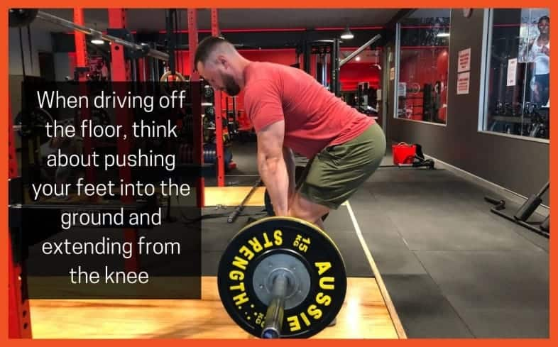 pushing the floor away will allow your hips to be patient in the start position