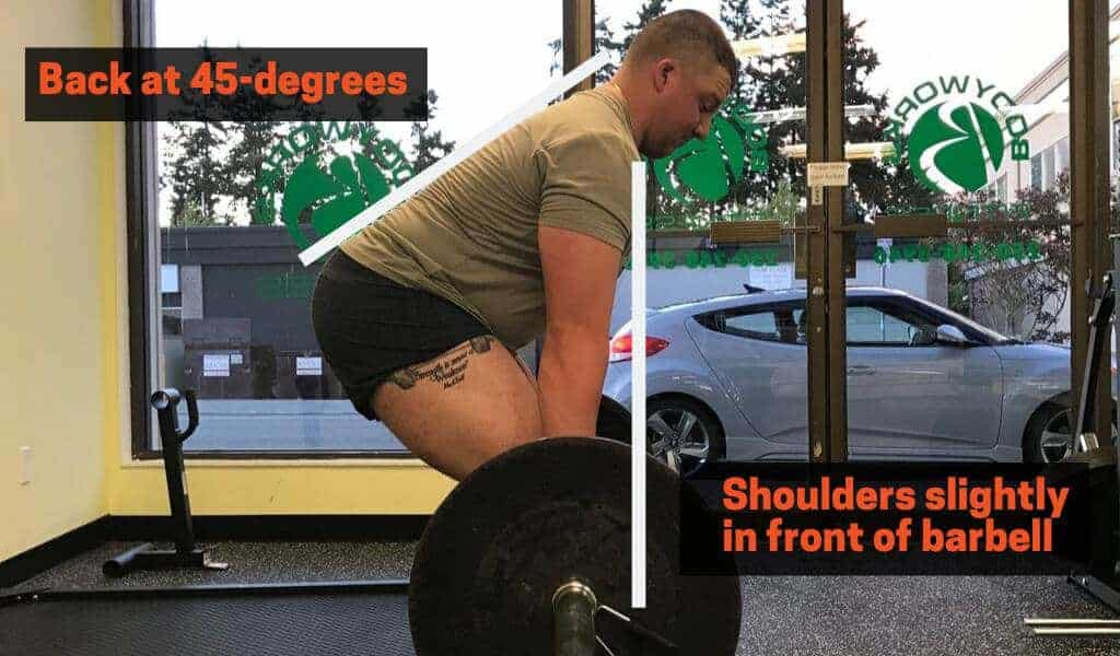 the optimal position for your hips to be in when the barbell is at the knee and your torso angle as close to a 45-degree angle as possible