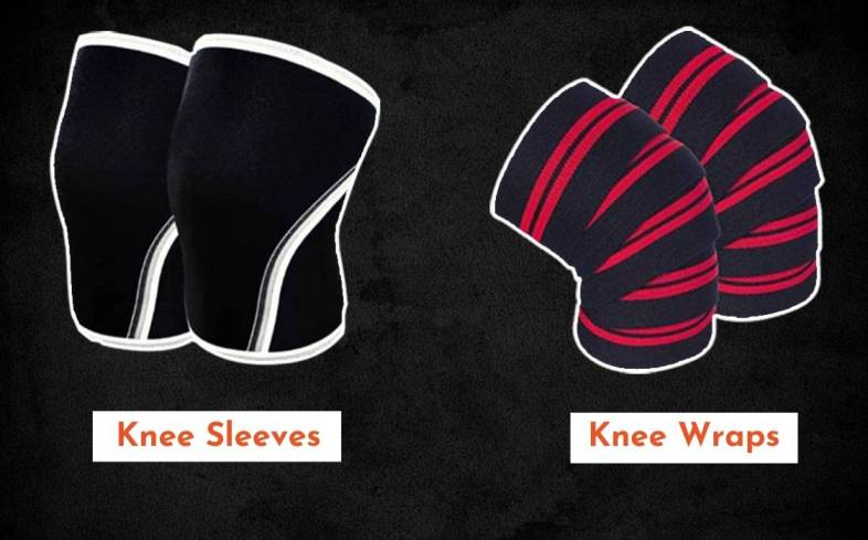 knee wraps slide up the lower leg, while knee wraps spiral around the knee.
