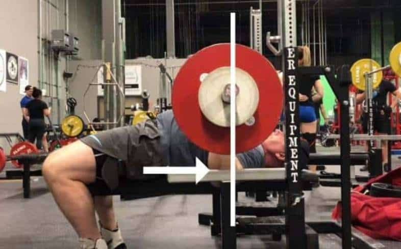 when the barbell is on the chest in the bench press, your elbows should either be directly stacked underneath of the barbell, or slightly in front