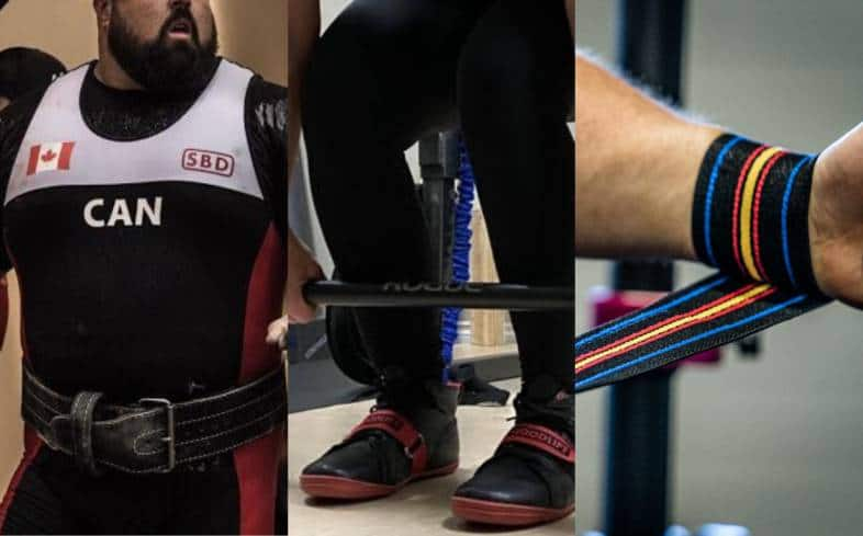 proper powerlifting belt, specialized shoes for squatting and deadlift, and durable wrist wraps