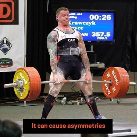 most common reason stated for not wanting to use the mixed grip deadlift is that it will cause asymmetries