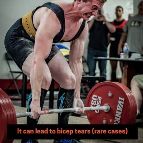some lifters experience bicep tears while deadlifting