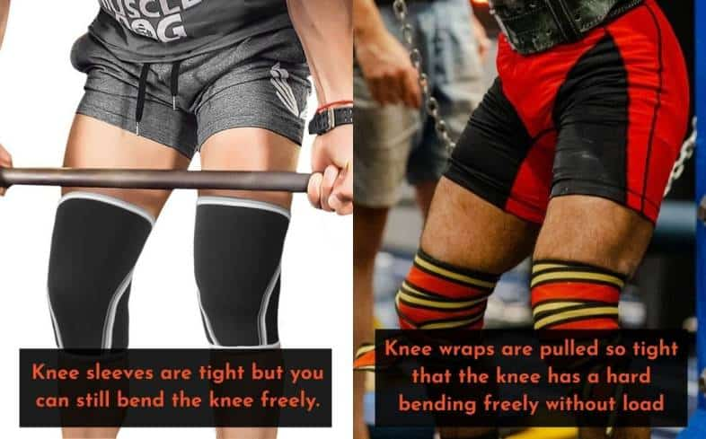 knee sleeves are tight but you can still bend the knee freely wile knee wraps are pulled so tight that the knee has a hard bending freely