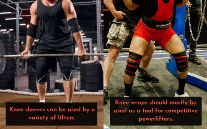 knee sleeves can be used by a variety of lifters whereas knee wraps should mostly be used as a tool for competitive powerlifters
