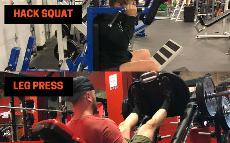 in the hack squat and leg press, the lifter is leaning back at a 45 degree angle and laying down with their legs up at 45 degrees, respectively