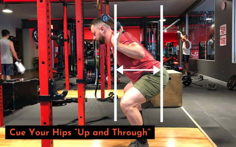 use the cue hips up and through while squatting into your lockout