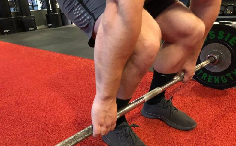 touch the barbell with your shins