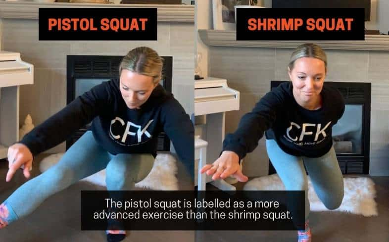 the pistol squat is labelled as a more advanced exercise than the shrimp squat