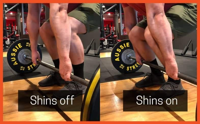 keeping the barbell on your shins will put you in the best possible position to use your quads off the floor
