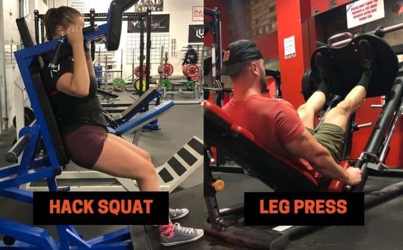hack squat machine and leg press machine