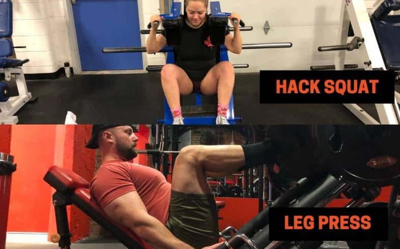 the hack squat and the leg press predominantly target the quads and glutes