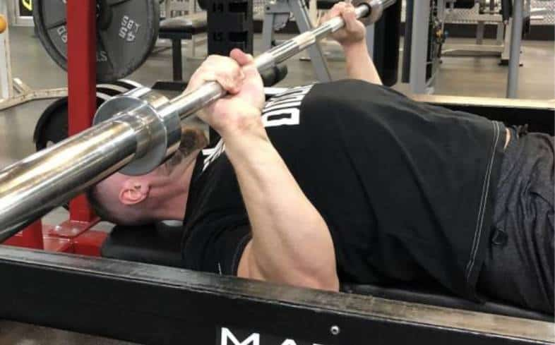 barbell fails exactly halfway between your chest and lockout