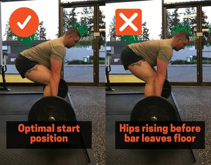in order to stop your hips from shooting up too fast in the deadlift, you need to make sure your hip position is in the right spot to begin with
