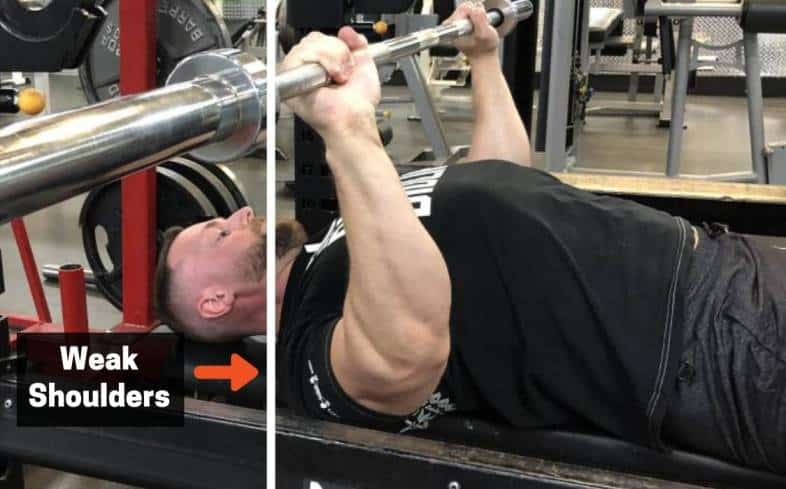 your bench press is weak in the middle it's because your shoulder muscles are relatively weaker